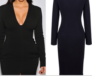 Image of High quality hot long sleeve fork dress