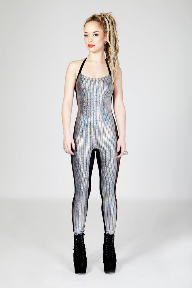 Image of CELINE Halter Neck Catsuit in SILVER HOLOGRAPHIC DISCOBALL