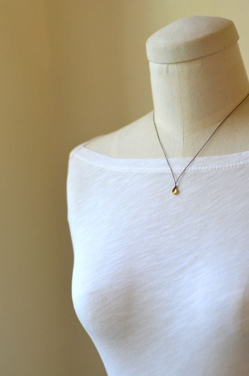 Image of Tiny gold circle cord necklace