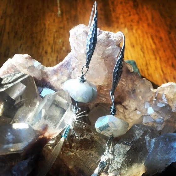 Image of Moonstone and Feather Goddess Earrings