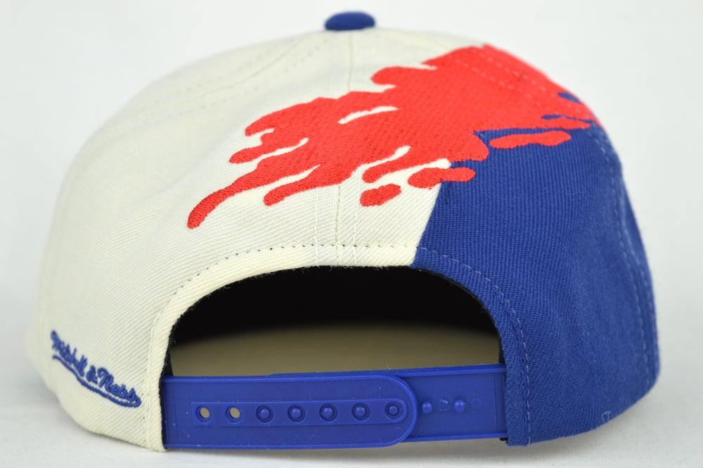 Image of NEW YORK RANGER GREAM/RED/ROYAL BLUE MITCHELL & NESS SPLASH SNAPBACK CAP