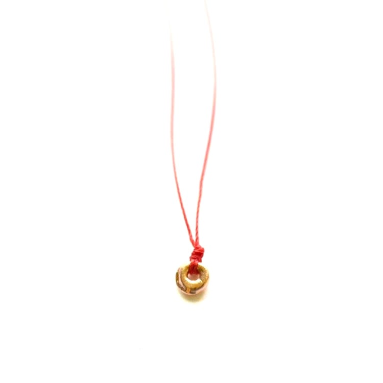 Image of Tiny rose gold circle on cord necklace