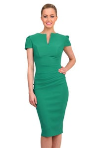 Image of Green bodycon dress with capped sleeve