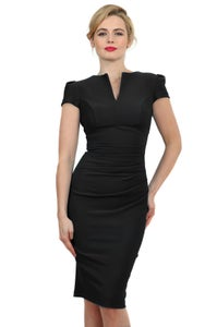 Image of Black capped sleeve bodycon dress