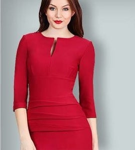 Image of Sleeved body con dress in rose red