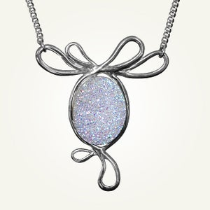 Image of White Druzy Belle Epoque Necklace, Sterling Silver