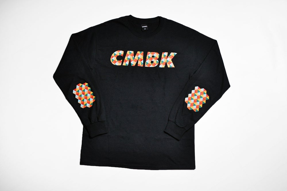 Image of CMBK Red Harlequin Long Sleeve Black Tee Shirt