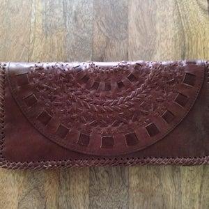 Image of Mandala Leather Clutch (Chocolate)