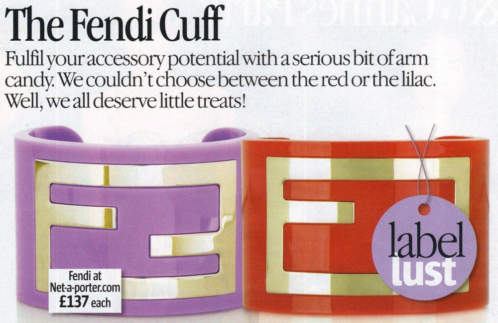 Image of SOLD OUT - SUPER SALE FENDI CUFF BRACELET - AUTHENTIC SIGNED PERSPEX CUFF NEW IN BOX
