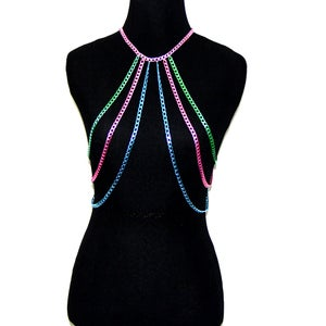 Image of Candra Colored Body Chain Harness, SA494