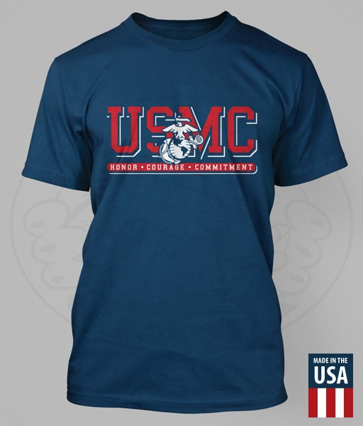 "Image of USMC - EGA ""HONOR. COURAGE. COMMITMENT."" Performance T-Shirt"