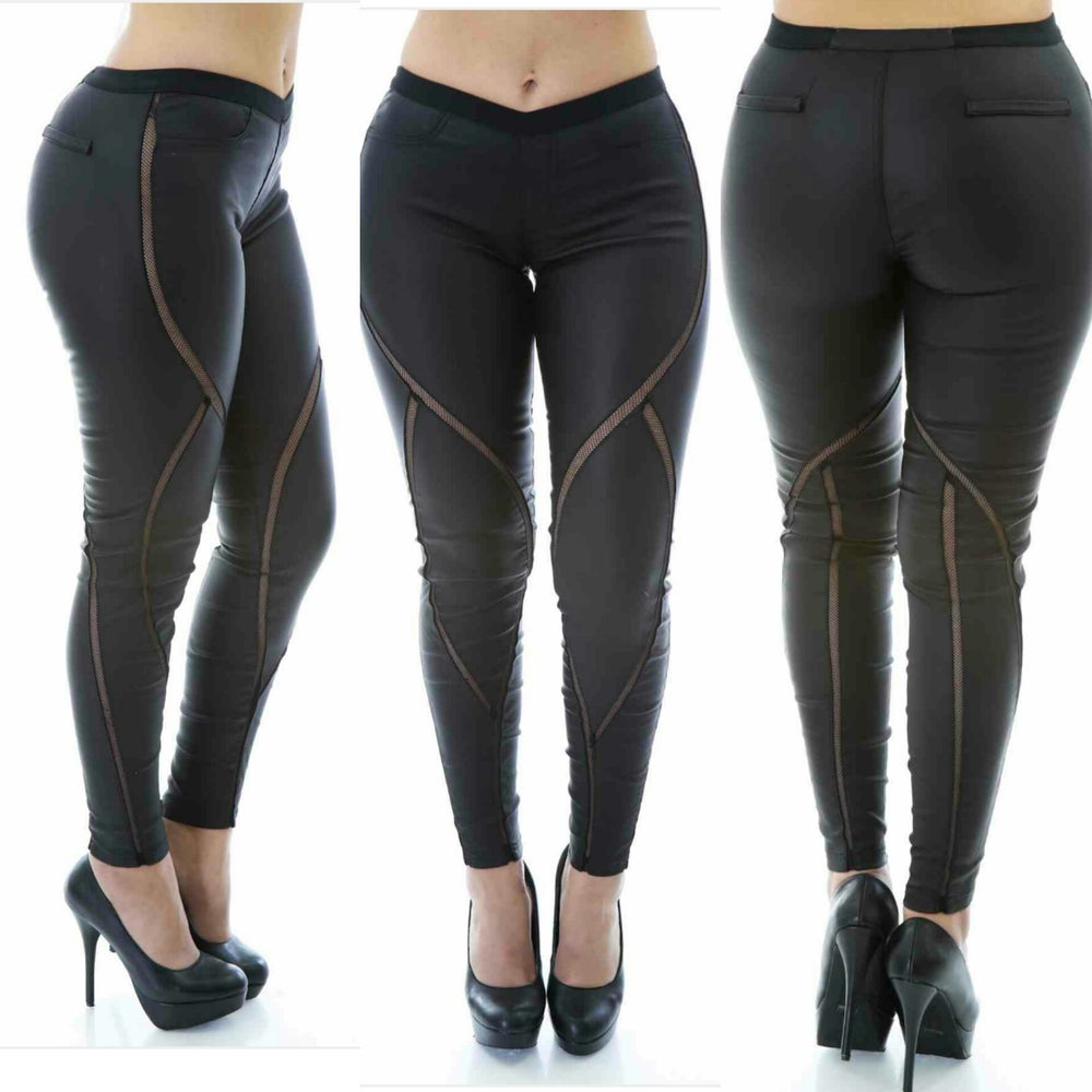 Image of Leather Net Pants (black)