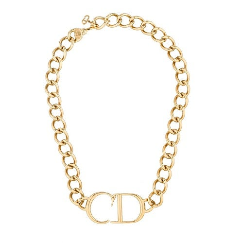 Image of FEATURED ITEM Christian Dior Authentic Signed Large Monogram Logo Necklace By John Galliano