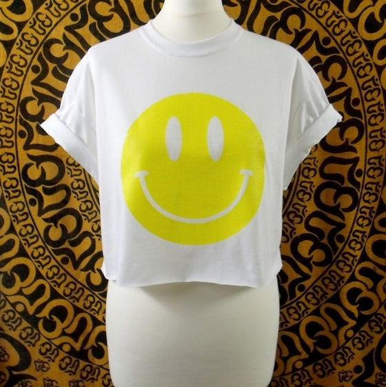 Image of White Acid house smiley crop top