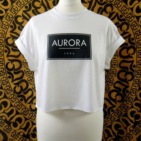 Image of White Aurora box logo crop top