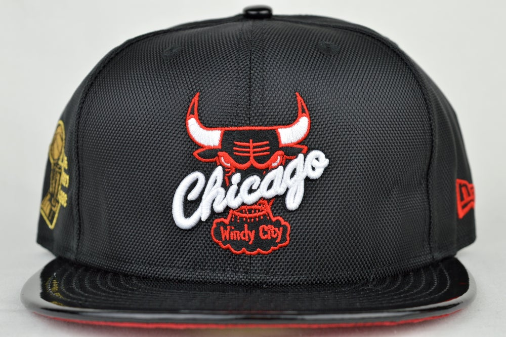 Image of Chicago Bulls Black Ballistic Patent 6 Time NBA Champs Air Jordan XI New Era 5950 Fitted Hat