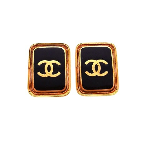 Image of SOLD OUT CHANEL EARRINGS - AUTHENTIC JUMBO SIZE VINTAGE RUNWAY QUAD LOGO EARRINGS
