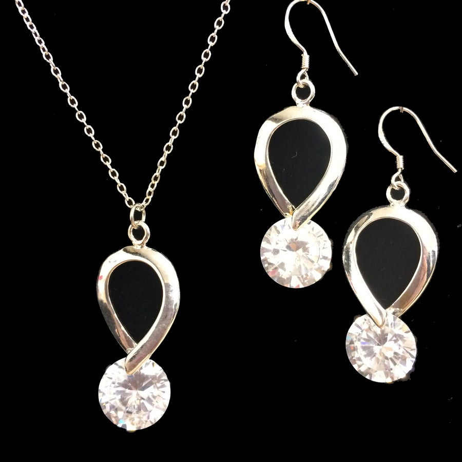Image of Clara Crystal and Silver Necklace and Earrings