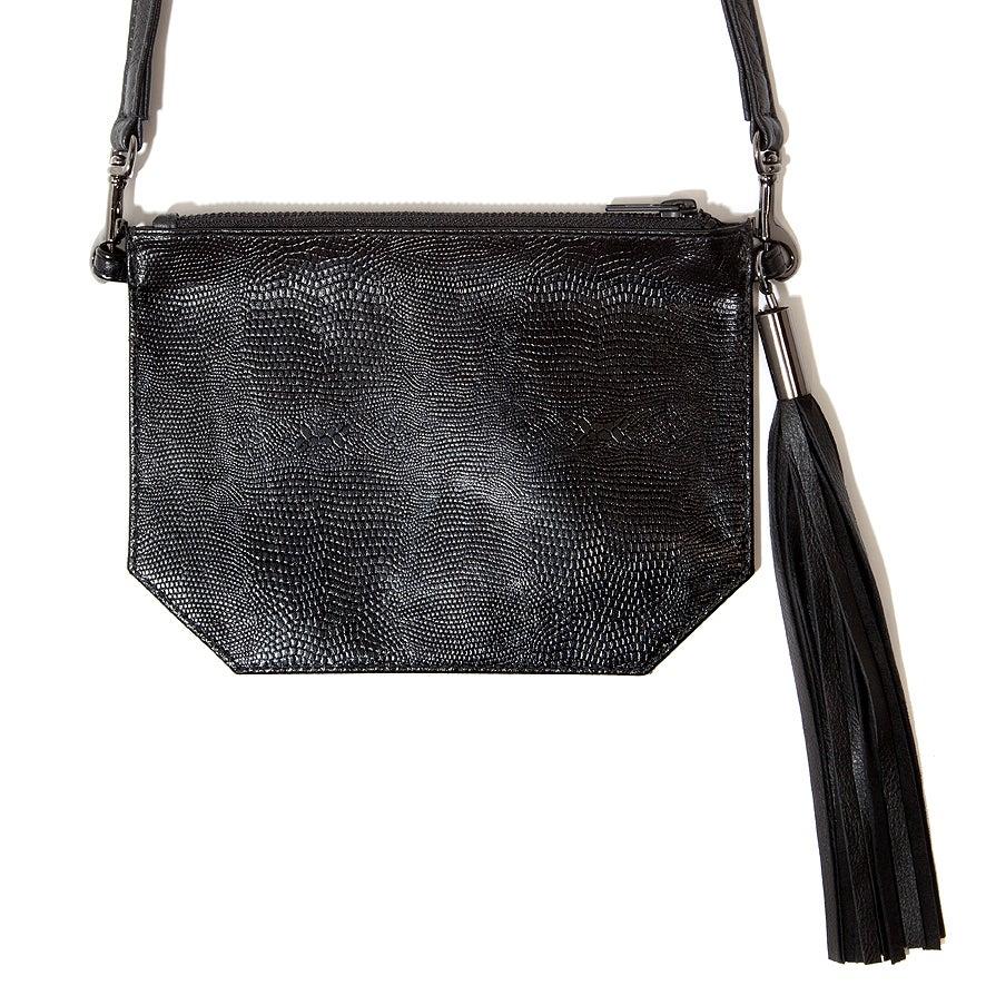 "Image of ""Prismic"" Embossed Black Kangaroo Leather Small Shoulder Bag"
