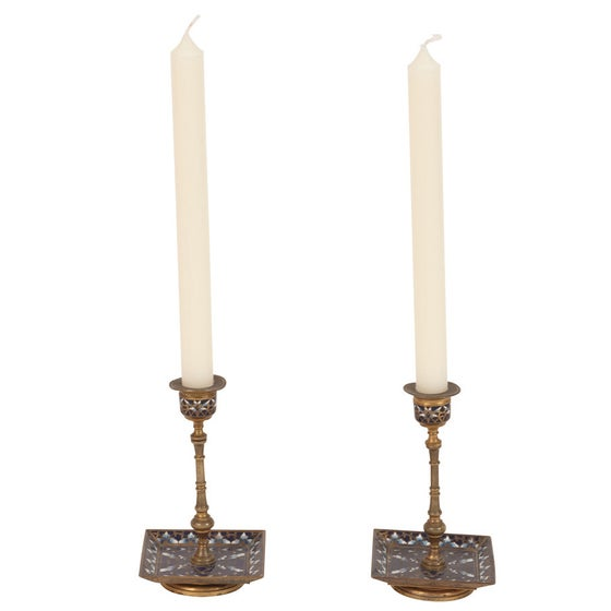 Image of Hand-Enameled Mosaic Candle Stick Holders - Pair