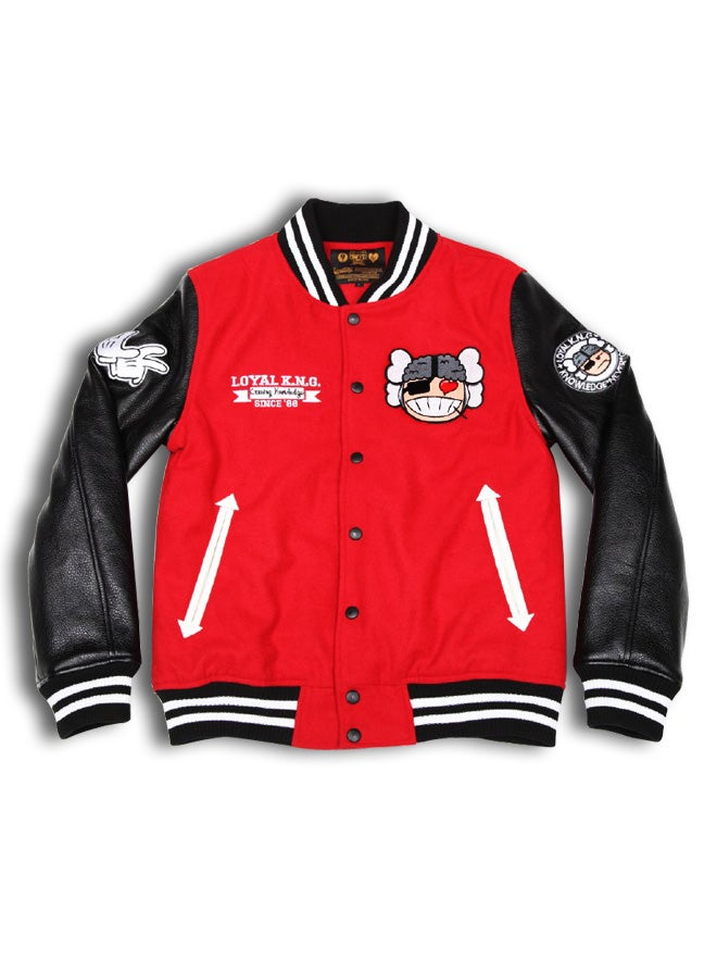Image of 'Atama Love' Logo Red/Black Letterman Jacket