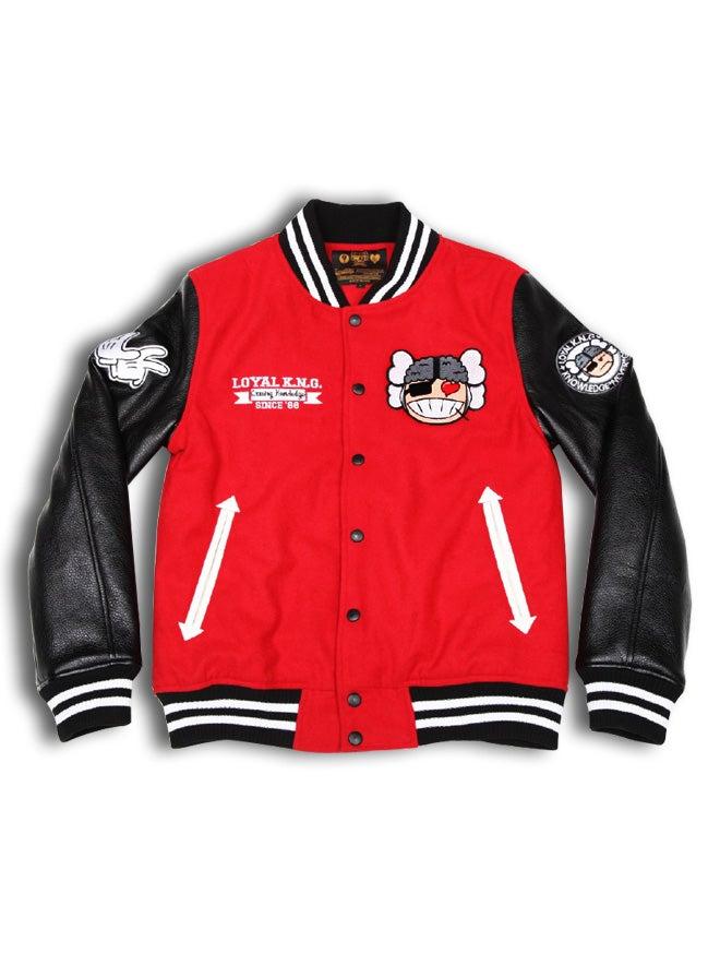Image of 'Atama Love' Logo Red/Black Letterman Jacket