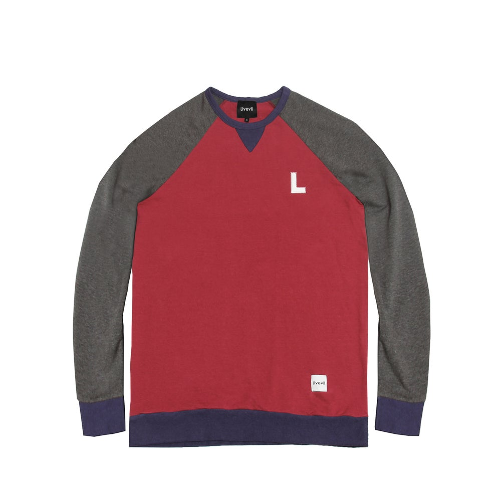 "Image of ""Left Fielder"" Raglan Crewneck Sweatshirt"