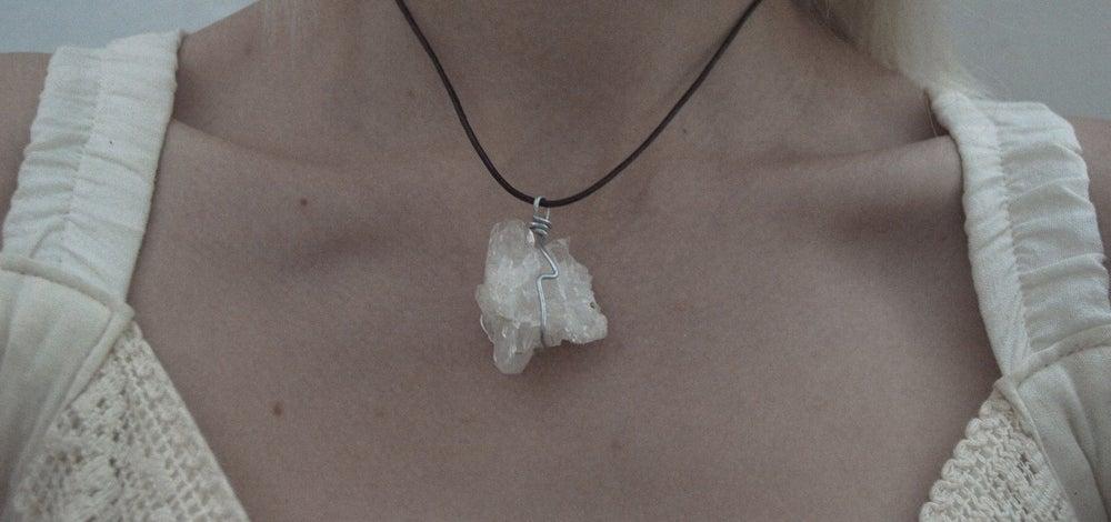 Image of Clear quartz druze necklace