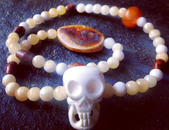 Image of Nepal Yak Bone Skull, Calcite, Orange Cobalt, Tibetan Matte Agate, Necklace  (Shaman Collection)