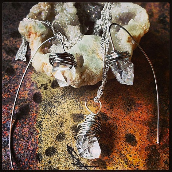 Image of Herkimer Diamond Sterling Silver Wire Wrapped Necklace and Earring Set