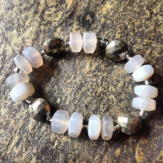 Image of Protection while you balance your emotions <3 Chalcedony and Pyrite Bracelet
