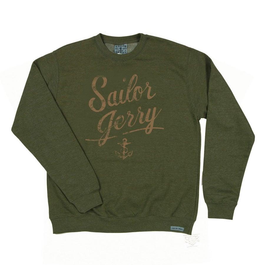 Image of Sailor Jerry Men's Distressed Script Sweatshirt (Camo Green)
