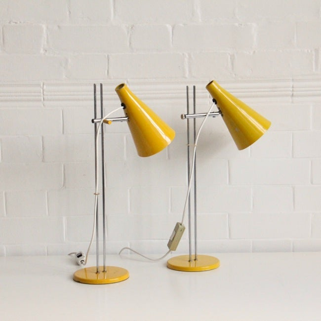 Image of PAIR OF YELLOW JOSEF HURKA DESK LIGHTS - Double Stem