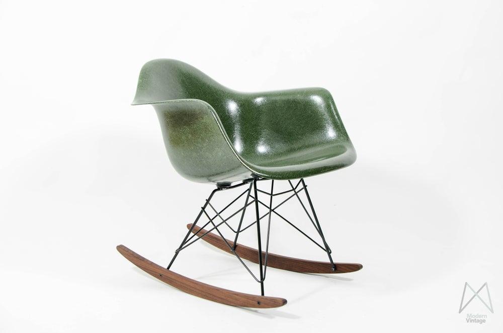 image of eames herman miller rar rocking chair glassfiber forest green