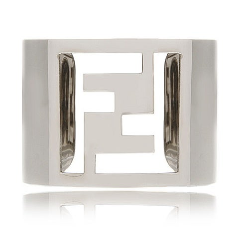 Image of SUPER SALE FENDI CUFF BRACELET - AUTHENTIC SIGNED SILVER CUFF IN BOX