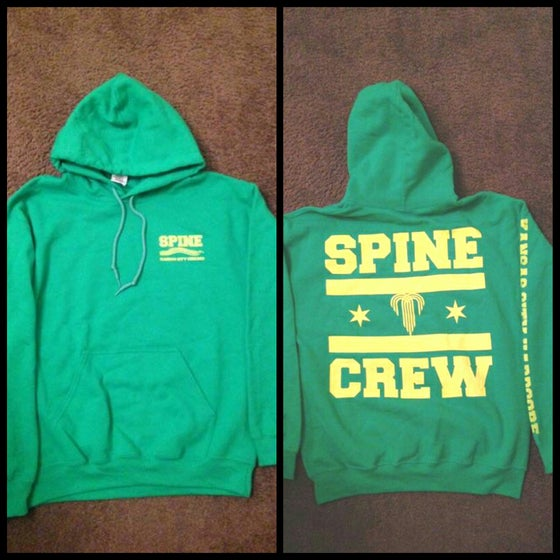 Image of SPINE CREW - HOODIE - GREEN/YELLOW