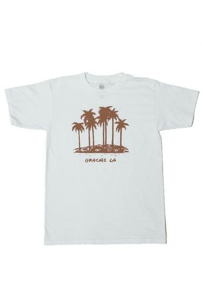 Image of Gracias LA White Palm Tree Tee.  #170