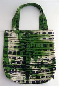 "Image of MJL ""Green Abstract Print Squares"" Cut n Sew Bag"