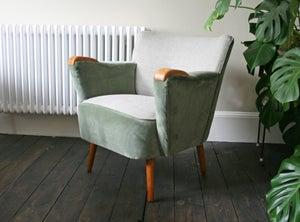 Image of 1950's velvet tub chair