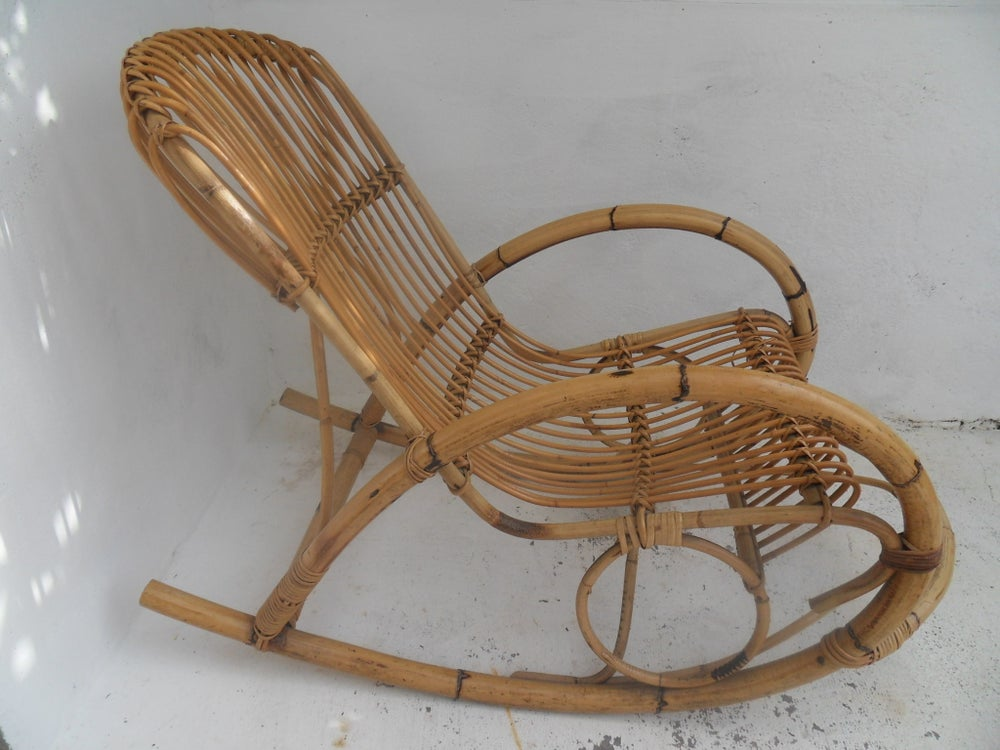 Image of rocking chair adulte-rotin bambou