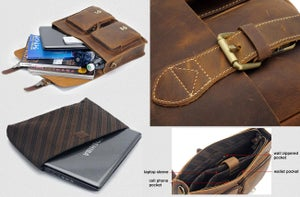 "Image of Men's Handmade Vintage Leather Briefcase Messenger 14"" 15"" Laptop 13"" 15"" MacBook Bag (n67-4)"