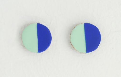 Image of HAND-PAINTED CIRCLE LEATHER stud earrings: color block edition