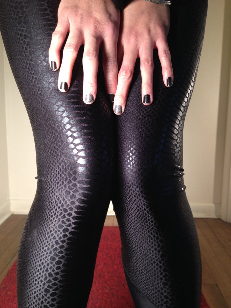 Image of Black snake skin pattern leggings