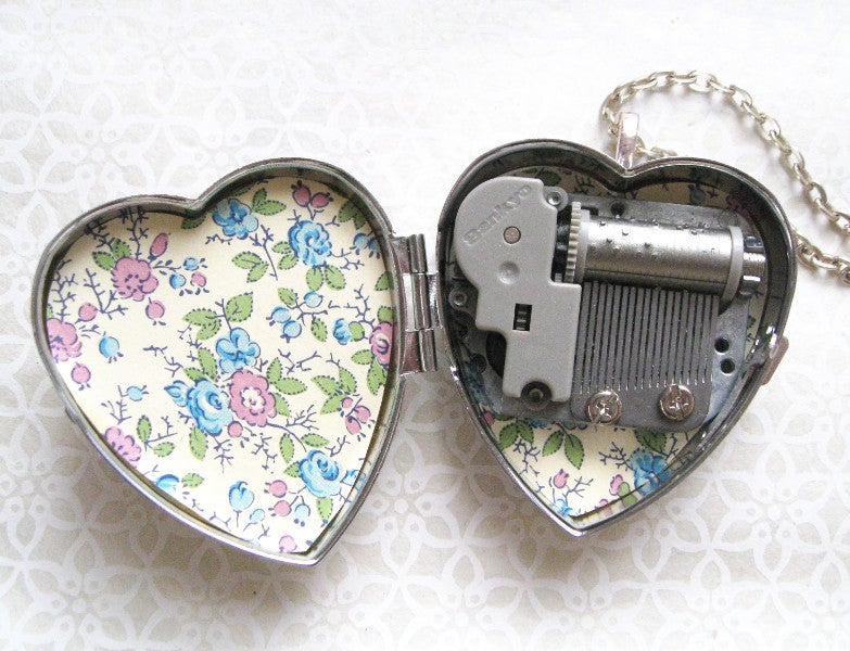 Image of Mermaid and Seahorse Musical Heart Locket - Sepia or Silver Colours