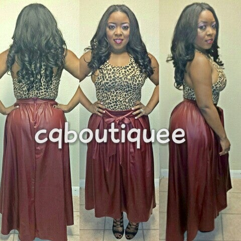 Image of Leatherette Skirt plus size(burgundy)
