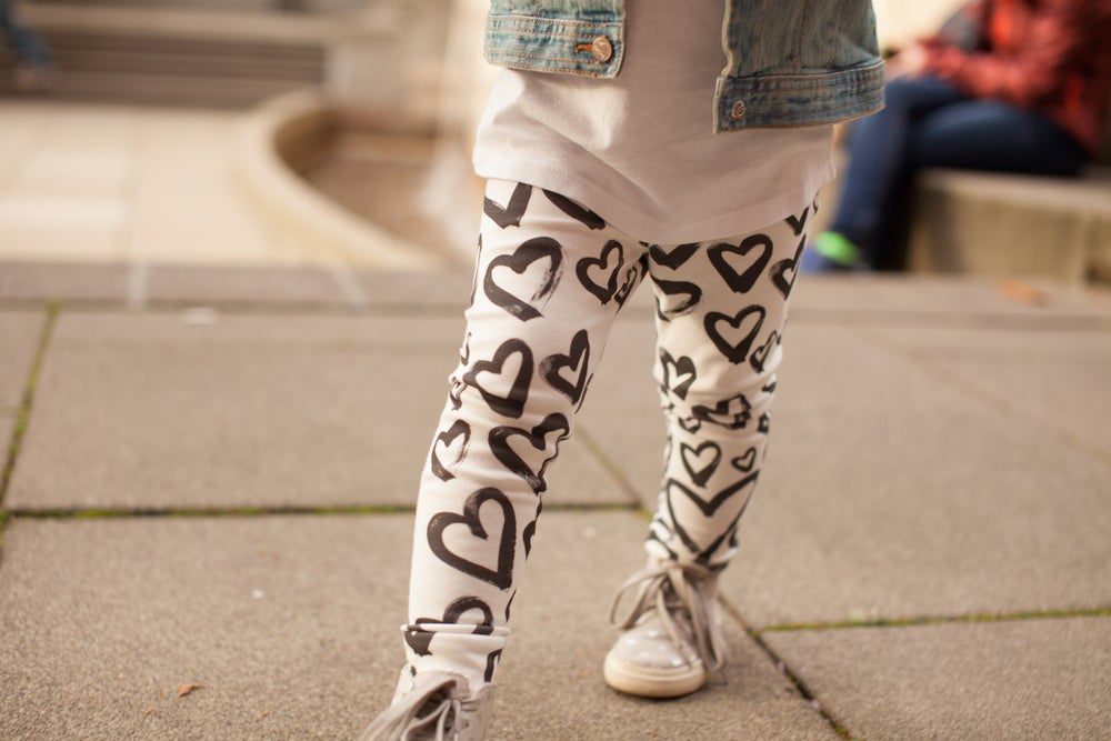 Image of ORGANIC COTTON BRUSHED Hearts CUFFED LEGGINGS