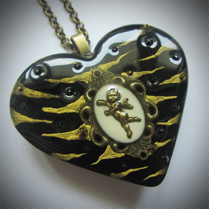 Image of Black/Bronze Zebra Cameo Resin Heart Pendant