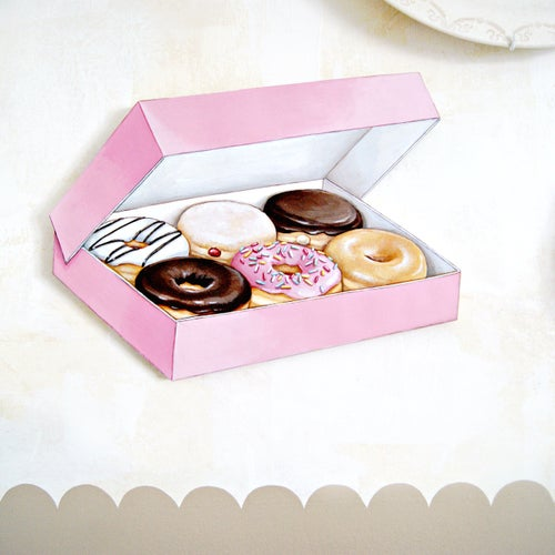 Image of Box of Donuts! diecut (wood plaque)