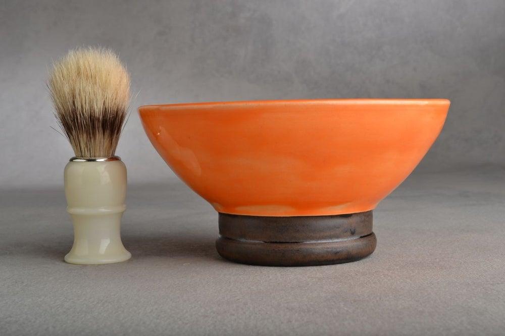 Image of Shaving Bowl Made To Order Orange Dottie Shaving Bowl by Symmetrical Pottery
