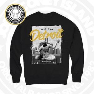 Image of Spirit of Detroit - Black Crewneck White/Black/Gold print